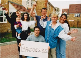 Photo:The first Brookside residents, including Colin & Sacha Ellison with baby Alice
