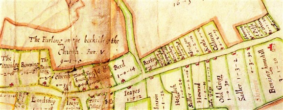 Photo:Chicheley map of c.1686.    To enlarge this map, use Control and + or click on the map and wait for it to download.