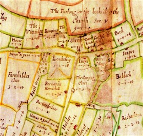 Photo:The Chicheley estate map of Orwell 1686. Barnards Homestall and Barnards Close are shown just below the mound on Lordship.
