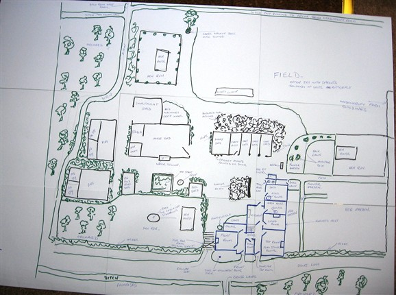 Photo:David Miller's sketch showing the arrangement of the farm.