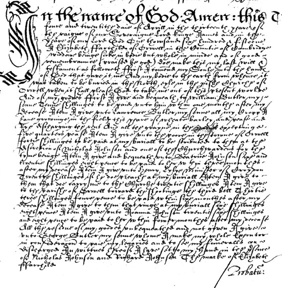 Photo: Illustrative image for the 'Will of Elizabeth Farchild 1615' page