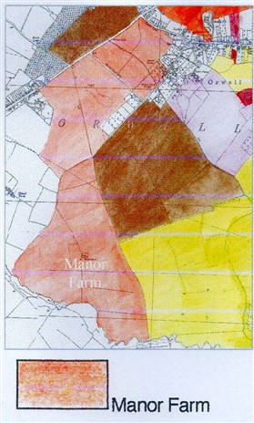 Photo:The extent of Manor farm in 1910 & 1941, from government surveys