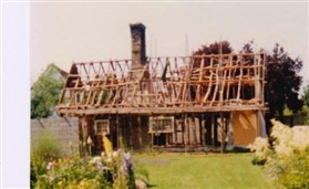 Photo:The bare bones of the cottage, now known as Melrose Cottage, exposed during rebuild in 1983.