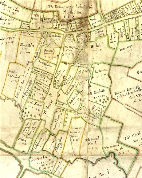 Photo:The 1686 map of the village green.
