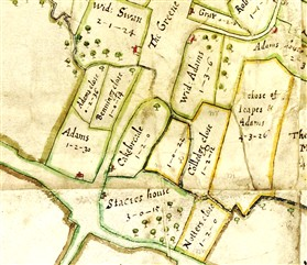 Photo:The 1686 Chicheley Map. Houses were incorrectly drawn as being on the edge of each plot.