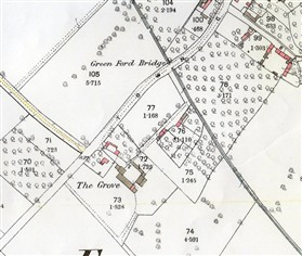 Photo:Grove Farm in 1887. The driveway beside the Brook once led to the farmyard. It is just possible that the pink colouring signifies that the building is residential.