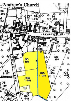 Photo:The site before development, in the early 1950s. The blue line indicates the ditch which drained outfall from the butcher's slaughterhouse