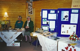 Photo:Mesdames Nancy Skipper and Doreen Chapman with the Orwell WI display