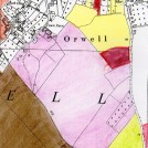 Photo:The extent of Meadowcroft Farm (coloured mauve) in 1941