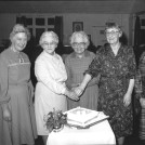 Photo:W.I. Celebration about 1988. County Representative, Addie Mitchell, Grace Flack, Peggy Miller & Mair Summers.