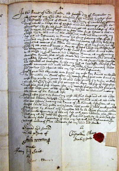Photo: Illustrative image for the 'Will of Christopher Adams 1685' page