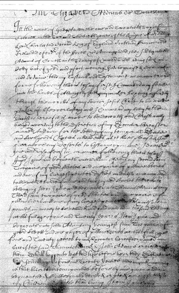 Photo: Illustrative image for the 'Will of Elizabeth Adams 1680' page
