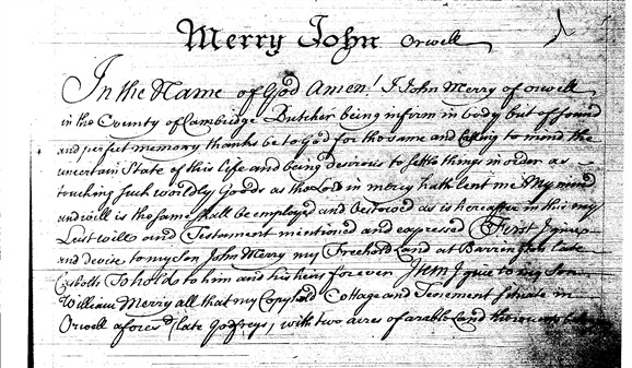 Photo: Illustrative image for the 'Will of John Merry, butcher 1738.' page