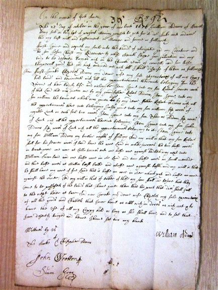 Photo:William Adams' original Will. Note that William could write his name, but Christopher could only manage a letter 'C.'  To enlarge the Will, click Control and + together.