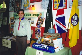 Photo:Scout leader Alan Norton on the 1st Orwell Scouts stand